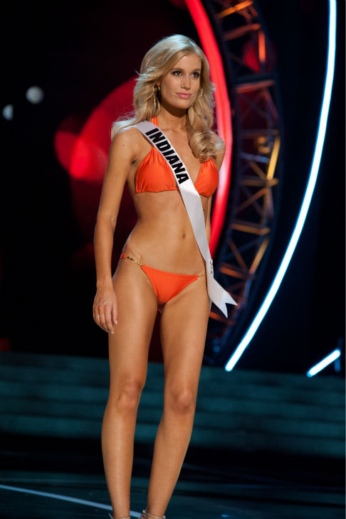 Miss Indiana USA 2013, Emily Hart, 26, competes in her ViX Paula Hermanny swimsuit and Chinese Laundry shoes during the 2013 MISS USA Competition Preliminary Show at PH Live in Las Vegas, Nevada on Wednesday, June 12, 2013.  <span class=meta>(Patrick Prather &#47; Miss Universe Organization L.P.)</span>