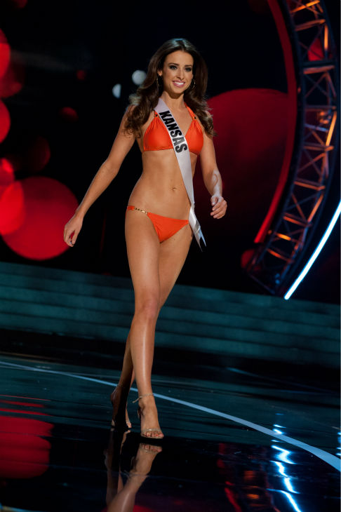 Miss Kansas USA 2013, Staci Klinginsmith, 26, competes in her ViX Paula Hermanny swimsuit and Chinese Laundry shoes during the 2013 MISS USA Competition Preliminary Show at PH Live in Las Vegas, Nevada on Wednesday, June 12, 2013.   <span class=meta>(Patrick Prather &#47; Miss Universe Organization L.P.)</span>