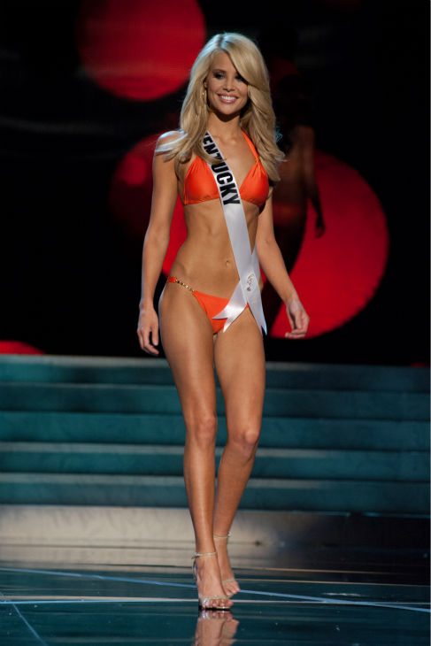 Miss Kentucky USA 2013, Allie Leggett, 19, competes in her ViX Paula Hermanny swimsuit and Chinese Laundry shoes during the 2013 MISS USA Competition Preliminary Show at PH Live in Las Vegas, Nevada on Wednesday, June 12, 2013.  <span class=meta>(Patrick Prather &#47; Miss Universe Organization L.P.)</span>