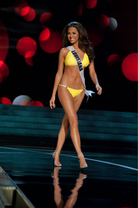 Miss Louisiana USA 2013, Kristen Girault, 22, competes in her ViX Paula Hermanny swimsuit and Chinese Laundry shoes during the 2013 MISS USA Competition Preliminary Show at PH Live in Las Vegas, Nevada on Wednesday, June 12, 2013. <span class=meta>(Patrick Prather &#47; Miss Universe Organization L.P.)</span>