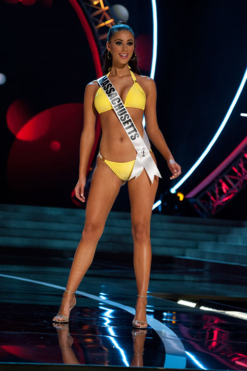 "<div class=""meta ""><span class=""caption-text "">Miss Massachusetts USA 2013, Sarah Kidd, 20, competes in her ViX Paula Hermanny swimsuit and Chinese Laundry shoes during the 2013 MISS USA Competition Preliminary Show at PH Live in Las Vegas, Nevada on Wednesday, June 12, 2013.   (Patrick Prather / Miss Universe Organization L.P.)</span></div>"