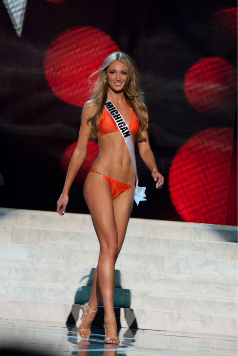 "<div class=""meta ""><span class=""caption-text "">Miss Michigan USA 2013, Jaclyn Schultz, 24, competes in her ViX Paula Hermanny swimsuit and Chinese Laundry shoes during the 2013 MISS USA Competition Preliminary Show at PH Live in Las Vegas, Nevada on Wednesday, June 12, 2013.   (Patrick Prather / Miss Universe Organization L.P.)</span></div>"