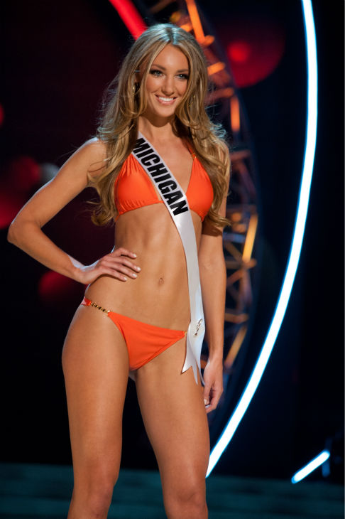 Miss Michigan USA 2013, Jaclyn Schultz, 24, competes in her ViX Paula Hermanny swimsuit and Chinese Laundry shoes during the 2013 MISS USA Competition Preliminary Show at PH Live in Las Vegas, Nevada on Wednesday, June 12, 2013.   <span class=meta>(Patrick Prather &#47; Miss Universe Organization L.P.)</span>