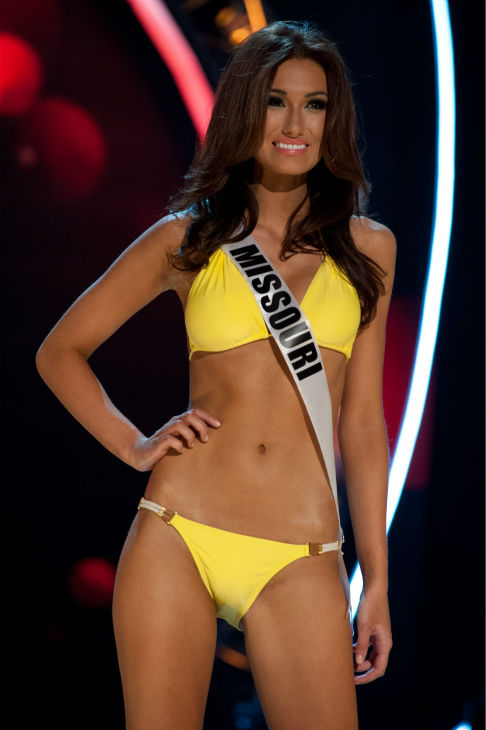 "<div class=""meta ""><span class=""caption-text "">Miss Missouri USA 2013, Ellie Holtman, 20, competes in her ViX Paula Hermanny swimsuit and Chinese Laundry shoes during the 2013 MISS USA Competition Preliminary Show at PH Live in Las Vegas, Nevada on Wednesday, June 12, 2013.   (Patrick Prather / Miss Universe Organization L.P.)</span></div>"