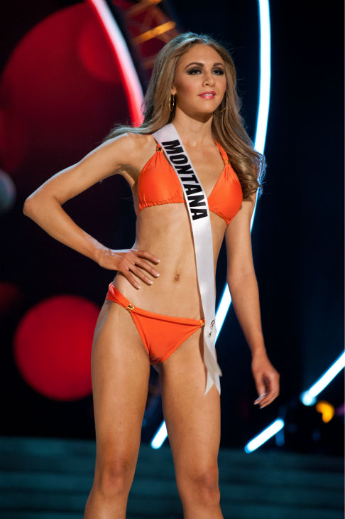 Miss Montana USA 2013, Kacie West, 24, competes in her ViX Paula Hermanny swimsuit and Chinese Laundry shoes during the 2013 MISS USA Competition Preliminary Show at PH Live in Las Vegas, Nevada on Wednesday, June 12, 2013.   <span class=meta>(Patrick Prather &#47; Miss Universe Organization L.P.)</span>