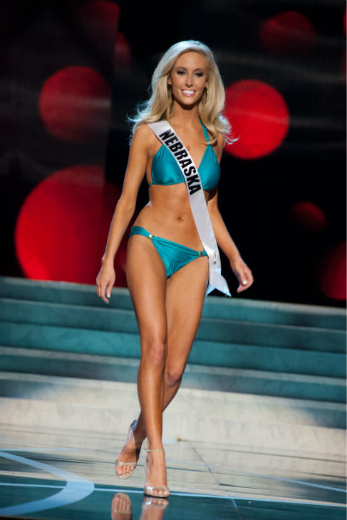 Miss Nebraska USA 2013, Ellie Lorenzen, 22, competes in her ViX Paula Hermanny swimsuit and Chinese Laundry shoes during the 2013 MISS USA Competition Preliminary Show at PH Live in Las Vegas, Nevada on Wednesday, June 12, 2013.   <span class=meta>(Patrick Prather &#47; Miss Universe Organization L.P.)</span>