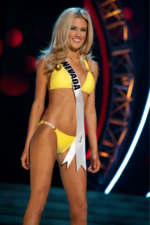 "<div class=""meta ""><span class=""caption-text "">Miss Nevada USA 2013, Chelsea Caswell, 23, competes in her ViX Paula Hermanny swimsuit and Chinese Laundry shoes during the 2013 MISS USA Competition Preliminary Show at PH Live in Las Vegas, Nevada on Wednesday, June 12, 2013.  (Patrick Prather / Miss Universe Organization L.P.)</span></div>"