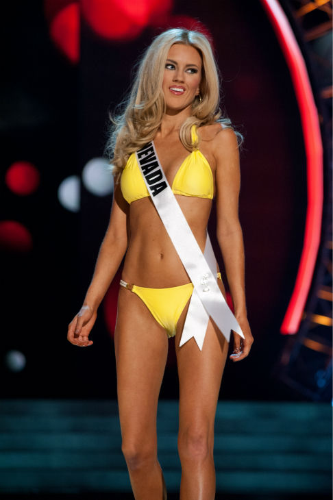 Miss Nevada USA 2013, Chelsea Caswell, 23, competes in her ViX Paula Hermanny swimsuit and Chinese Laundry shoes during the 2013 MISS USA Competition Preliminary Show at PH Live in Las Vegas, Nevada on Wednesday, June 12, 2013.  <span class=meta>(Patrick Prather &#47; Miss Universe Organization L.P.)</span>