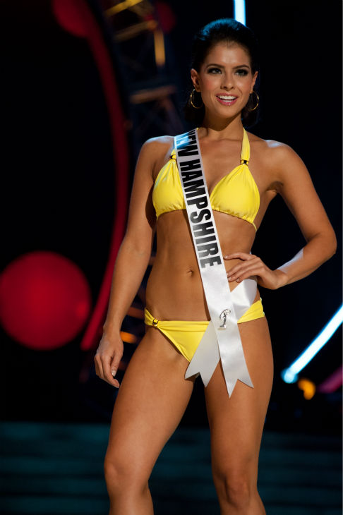 "<div class=""meta image-caption""><div class=""origin-logo origin-image ""><span></span></div><span class=""caption-text"">Miss New Hampshire USA 2013, Amber Faucher, 22, competes in her ViX Paula Hermanny swimsuit and Chinese Laundry shoes during the 2013 MISS USA Competition Preliminary Show at PH Live in Las Vegas, Nevada on Wednesday, June 12, 2013.   (Patrick Prather / Miss Universe Organization L.P.)</span></div>"