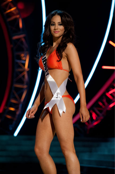 Miss New Jersey USA 2013, Libell Duran, 22, competes in her ViX Paula Hermanny swimsuit and Chinese Laundry shoes during the 2013 MISS USA Competition Preliminary Show at PH Live in Las Vegas, Nevada on Wednesday, June 12, 2013.   <span class=meta>(Patrick Prather &#47; Miss Universe Organization L.P.)</span>