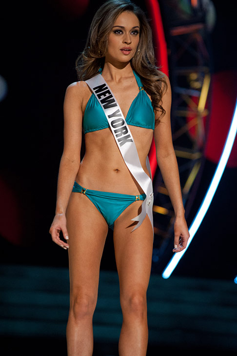 Miss New York USA 2013, Joanne Nosuchinsky, 24, competes in her ViX Paula Hermanny swimsuit and Chinese Laundry shoes during the 2013 MISS USA Competition Preliminary Show at PH Live in Las Vegas, Nevada on Wednesday, June 12, 2013. <span class=meta>(Patrick Prather &#47; Miss Universe Organization L.P.)</span>