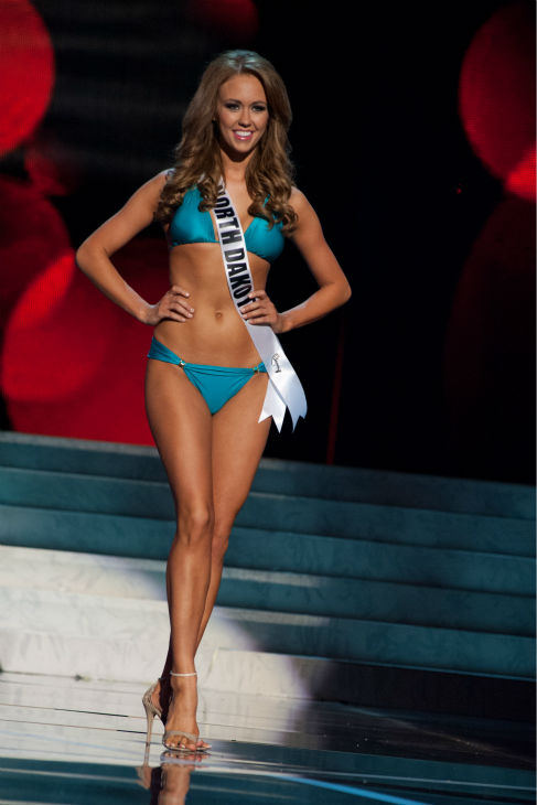 Miss North Dakota USA 2013, Stephanie Erickson, 23, competes in her ViX Paula Hermanny swimsuit and Chinese Laundry shoes during the 2013 MISS USA Competition Preliminary Show at PH Live in Las Vegas, Nevada on Wednesday, June 12, 2013. <span class=meta>(Patrick Prather &#47; Miss Universe Organization L.P.)</span>