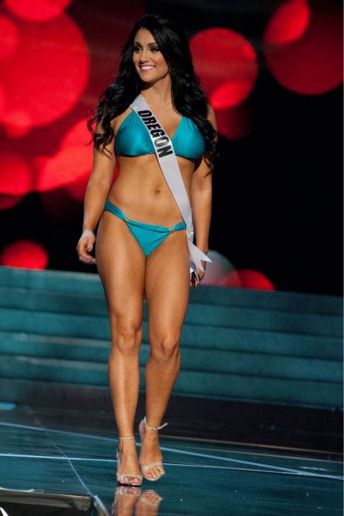 Miss Oregon USA 2013, Gabrielle Neilan, 22, competes in her ViX Paula Hermanny swimsuit and Chinese Laundry shoes during the 2013 MISS USA Competition Preliminary Show at PH Live in Las Vegas, Nevada on Wednesday, June 12, 2013. <span class=meta>(Patrick Prather &#47; Miss Universe Organization L.P.)</span>