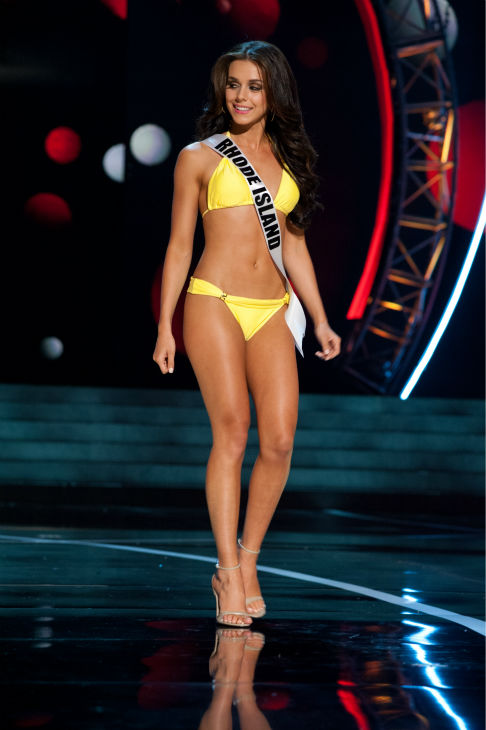 Miss Rhode Island USA 2013, Brittany Stenovitch, 19, competes in her ViX Paula Hermanny swimsuit and Chinese Laundry shoes during the 2013 MISS USA Competition Preliminary Show at PH Live in Las Vegas, Nevada on Wednesday, June 12, 2013.  <span class=meta>(Patrick Prather &#47; Miss Universe Organization L.P.)</span>