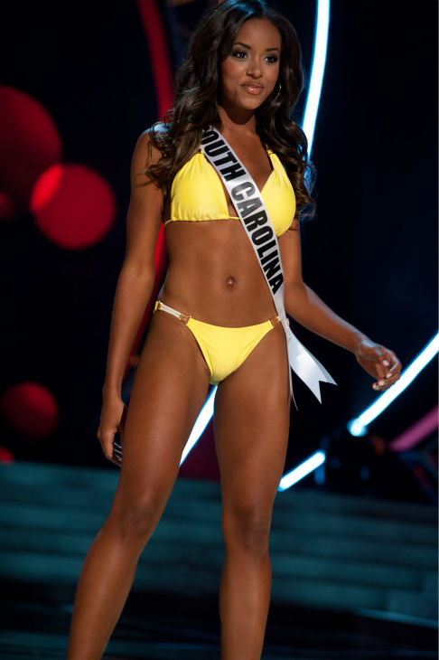"<div class=""meta ""><span class=""caption-text "">Miss South Carolina USA 2013, Megan Pinckney, 22, competes in her ViX Paula Hermanny swimsuit and Chinese Laundry shoes during the 2013 MISS USA Competition Preliminary Show at PH Live in Las Vegas, Nevada on Wednesday, June 12, 2013.  (Patrick Prather / Miss Universe Organization L.P.)</span></div>"