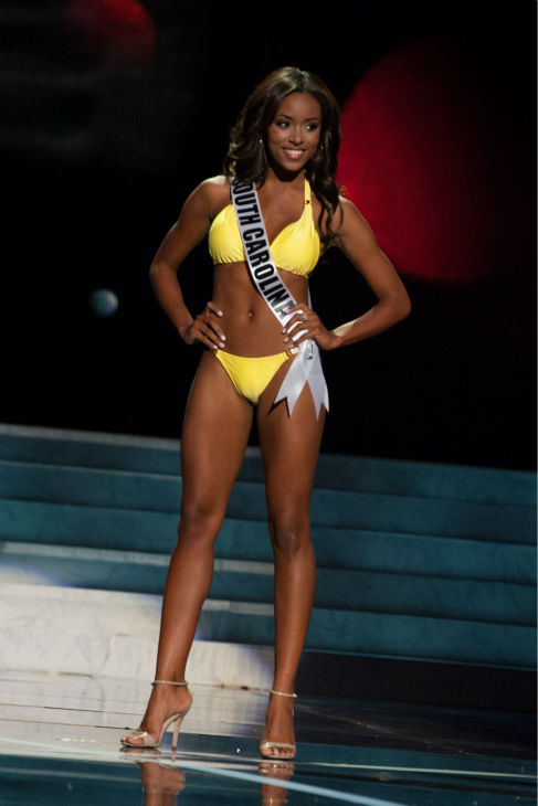 "<div class=""meta image-caption""><div class=""origin-logo origin-image ""><span></span></div><span class=""caption-text"">Miss South Carolina USA 2013, Megan Pinckney, 22, competes in her ViX Paula Hermanny swimsuit and Chinese Laundry shoes during the 2013 MISS USA Competition Preliminary Show at PH Live in Las Vegas, Nevada on Wednesday, June 12, 2013.  (Patrick Prather / Miss Universe Organization L.P.)</span></div>"