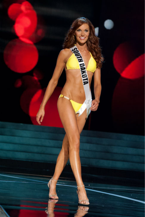 Miss South Dakota USA 2013, Jessica Albers, 27, competes in her ViX Paula Hermanny swimsuit and Chinese Laundry shoes during the 2013 MISS USA Competition Preliminary Show at PH Live in Las Vegas, Nevada on Wednesday, June 12, 2013. <span class=meta>(Patrick Prather &#47; Miss Universe Organization L.P.)</span>