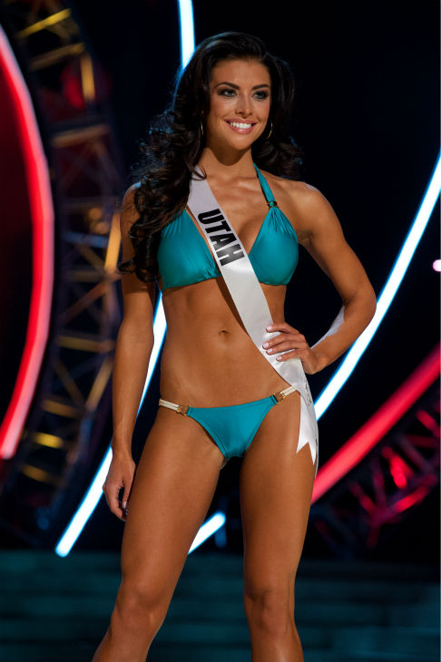 "<div class=""meta ""><span class=""caption-text "">Miss Utah USA 2013, Marissa Powell, 21, competes in her ViX Paula Hermanny swimsuit and Chinese Laundry shoes during the 2013 MISS USA Competition Preliminary Show at PH Live in Las Vegas, Nevada on Wednesday, June 12, 2013. (Patrick Prather / Miss Universe Organization L.P.)</span></div>"
