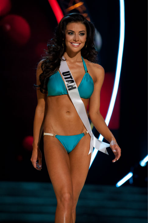 Miss Utah USA 2013, Marissa Powell, 21, competes in her ViX Paula Hermanny swimsuit and Chinese Laundry shoes during the 2013 MISS USA Competition Preliminary Show at PH Live in Las Vegas, Nevada on Wednesday, June 12, 2013. <span class=meta>(Patrick Prather &#47; Miss Universe Organization L.P.)</span>