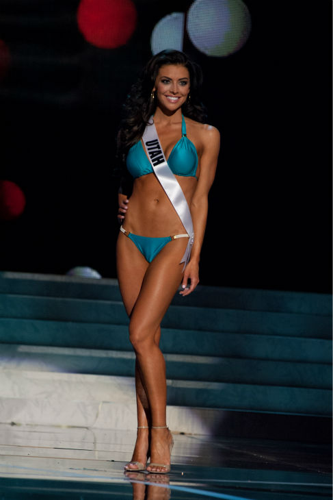 "<div class=""meta image-caption""><div class=""origin-logo origin-image ""><span></span></div><span class=""caption-text"">Miss Utah USA 2013, Marissa Powell, 21, competes in her ViX Paula Hermanny swimsuit and Chinese Laundry shoes during the 2013 MISS USA Competition Preliminary Show at PH Live in Las Vegas, Nevada on Wednesday, June 12, 2013. (Patrick Prather / Miss Universe Organization L.P.)</span></div>"