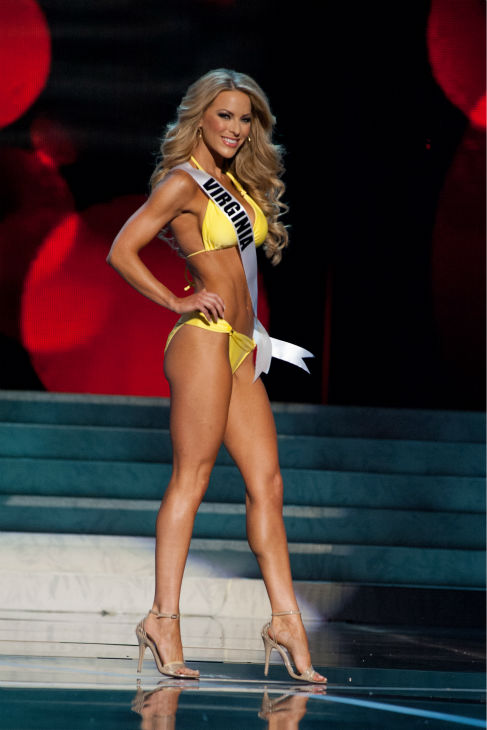 Miss Virginia USA 2013, Shannon McAnally, 25, competes in her ViX Paula Hermanny swimsuit and Chinese Laundry shoes during the 2013 MISS USA Competition Preliminary Show at PH Live in Las Vegas, Nevada on Wednesday, June 12, 2013. <span class=meta>(Patrick Prather &#47; Miss Universe Organization L.P.)</span>
