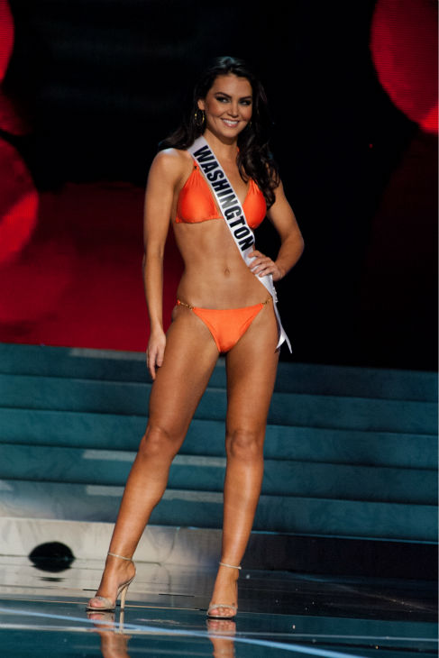 Miss Washington USA 2013, Cassandra Searles, 24, competes in her ViX Paula Hermanny swimsuit and Chinese Laundry shoes during the 2013 MISS USA Competition Preliminary Show at PH Live in Las Vegas, Nevada on Wednesday, June 12, 2013. <span class=meta>(Patrick Prather &#47; Miss Universe Organization L.P.)</span>