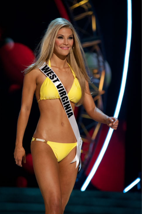 Miss West Virginia USA 2013, Chelsea Welch, 22, competes in her ViX Paula Hermanny swimsuit and Chinese Laundry shoes during the 2013 MISS USA Competition Preliminary Show at PH Live in Las Vegas, Nevada on Wednesday, June 12, 2013. <span class=meta>(Patrick Prather &#47; Miss Universe Organization L.P.)</span>