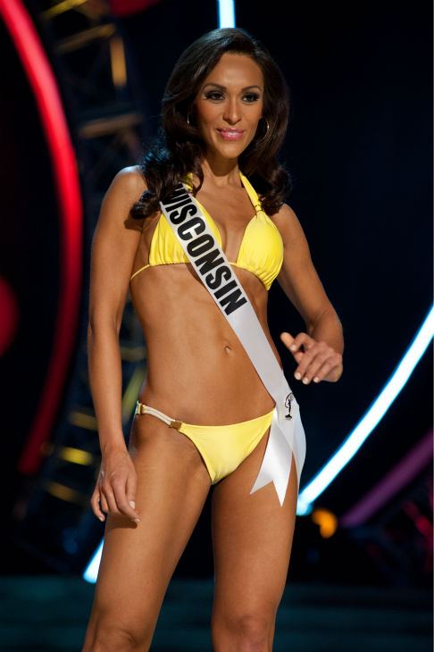 Miss Wisconsin USA 2013, Chrissy Zamora, 26, competes in her ViX Paula Hermanny swimsuit and Chinese Laundry shoes during the 2013 MISS USA Competition Preliminary Show at PH Live in Las Vegas, Nevada on Wednesday, June 12, 2013. <span class=meta>(Patrick Prather &#47; Miss Universe Organization L.P.)</span>