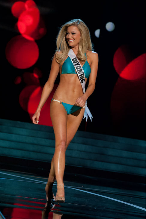 Miss Wyoming USA 2013, Courtney Gifford, 24, competes in her ViX Paula Hermanny swimsuit and Chinese Laundry shoes during the 2013 MISS USA Competition Preliminary Show at PH Live in Las Vegas, Nevada on Wednesday, June 12, 2013. <span class=meta>(Patrick Prather &#47; Miss Universe Organization L.P.)</span>