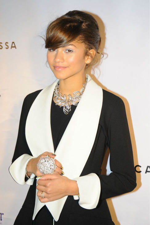 Zendaya of the Disney Channel series 'Shake It Up!' appears at 'Dancing With The Stars' alum Maksim Chermovskiy's and Robert Kheit's Cantamessa Men jewelry collection launch party at Tao Downtown Lounge in New York on Feb. 10, 2014.
