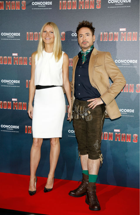 Gwyneth Paltrow and Robert Downey Jr. attend the &#39;Iron Man 3&#39; photo call at Hotel Bayerischer Hof in Munich, Germany on April 12, 2013. She is wearing a white dress by KaufmanFranco. <span class=meta>(Walt Disney Studios)</span>