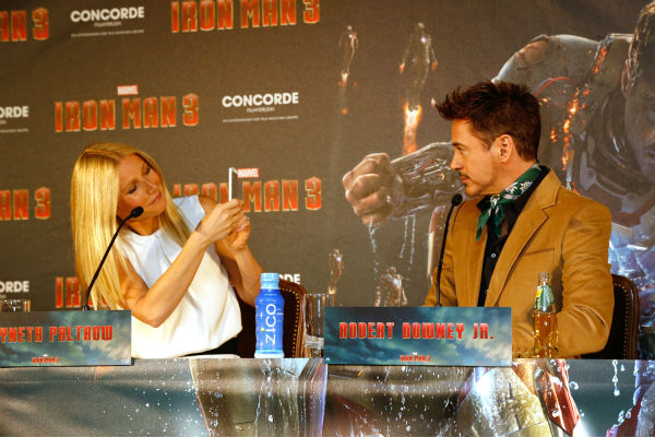 Gwyneth Paltrow and Robert Downey Jr. attend the &#39;Iron Man 3&#39; photo call at Hotel Bayerischer Hof in Munich, Germany on April 12, 2013. <span class=meta>(Walt Disney Studios)</span>