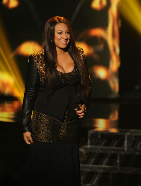 "<div class=""meta image-caption""><div class=""origin-logo origin-image ""><span></span></div><span class=""caption-text"">Melanie Amaro performs on 'The X Factor' pre-finale on Dec. 21, 2011 on FOX. (Ray Mickshaw / FOX)</span></div>"
