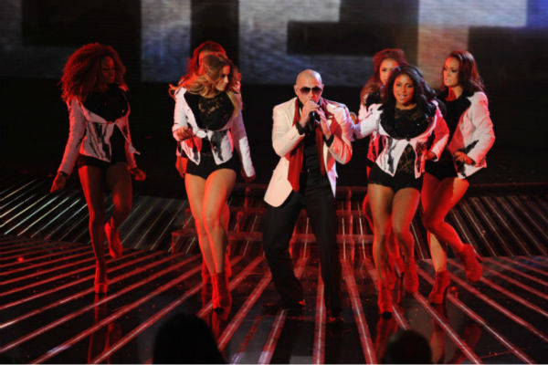 "<div class=""meta ""><span class=""caption-text "">Pitbull performs on 'The X Factor' finale on Dec. 22, 2011.  (Ray Mickshaw / FOX)</span></div>"