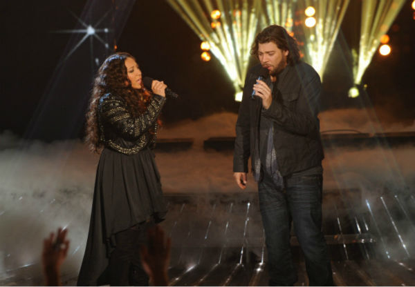 "<div class=""meta image-caption""><div class=""origin-logo origin-image ""><span></span></div><span class=""caption-text"">Melanie Amaro (L) and Josh Krajcik (R) perform on 'The X Factor' finale on Dec. 22, 2011.  (Ray Mickshaw / FOX)</span></div>"