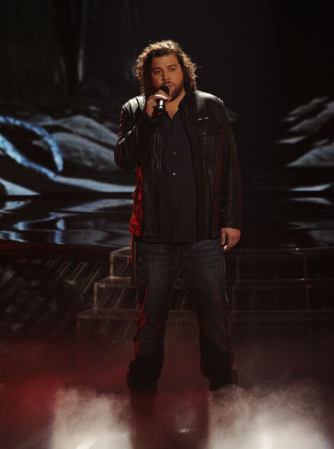 "<div class=""meta ""><span class=""caption-text "">Josh Krajcik performs Etta James' 1961 song 'At Last' on 'The X Factor' pre-finale on Dec. 21, 2011 on FOX.  (Ray Mickshaw / FOX)</span></div>"