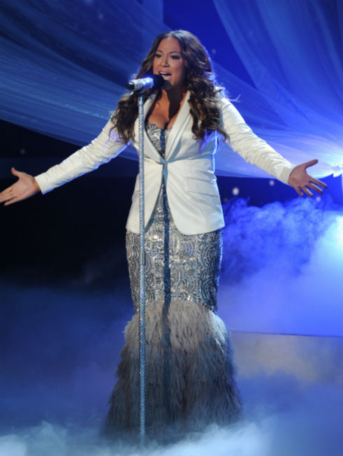 Melanie Amaro performs Beyonce's 2007 song 'Listen' on 'The X Factor' pre-finale on Dec. 21, 2011 on FOX.