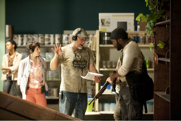 "<div class=""meta ""><span class=""caption-text "">Executive Producer Gale Anne Hurd, Co-Executive Producer/SFX Makeup Supervisor Greg Nicotero and Chad Coleman (Tyreese) appear on the set of AMC's 'The Walking Dead' while filming episode 1 of season 4, titled '30 Days Without an Accident,' which aired on Oct. 13, 2013. (Gene Page / AMC)</span></div>"