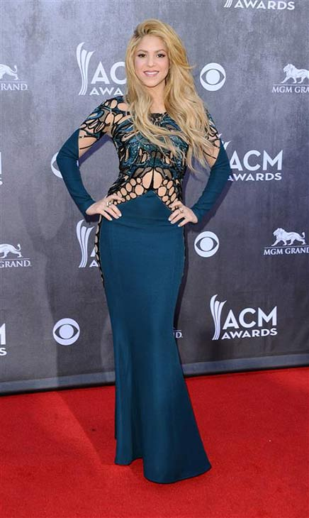 Shakira appears at the 49th annual Academy of Country Music (ACM) Awards in Las Vegas on April 6, 2014.