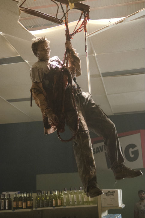 An actor dressed as a Walker appears on the set of AMC&#39;s &#39;The Walking Dead&#39; while filming episode 1 of season 4, titled &#39;30 Days Without an Accident,&#39; which aired on Oct. 13, 2013. <span class=meta>(Gene Page &#47; AMC)</span>