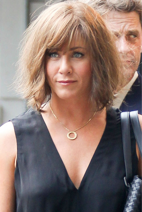 Jennifer Aniston wears a wig on the New York City set of the 2014 movie &#39;Squirrels To The Nuts&#39; and films a scene with a dog on July 17, 2013. <span class=meta>(Freddie Baez &#47; startraksphoto.com)</span>