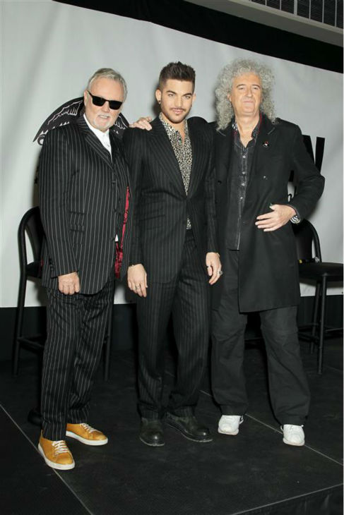 Adam Lambert appears with Queen members Brian May and Roger Taylor at a press conference at New York City&#39;s Madison Square Garden on March 6, 2014, in which they announced a summer North American tour. <span class=meta>(Mario Curtis &#47; Startraksphoto.com)</span>