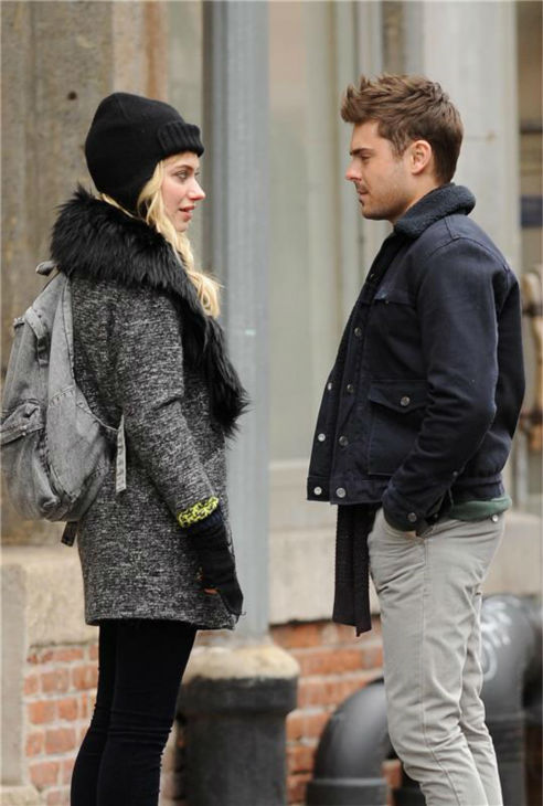 Zac Efron and British actress Imogen Poots appear on the set of the R-rated film 'That Awkward Moment' (previously titled 'Are We Officially Dating?') in New York on Dec. 20, 2012.
