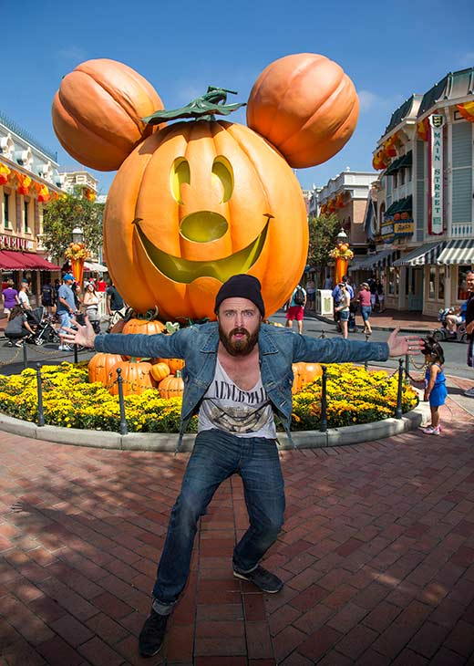 'Breaking Bad' star Aaron Paul celebrates 'Halloween Time' at Disneyland in Anaheim, California on Tuesday, Sept. 17, 2013.