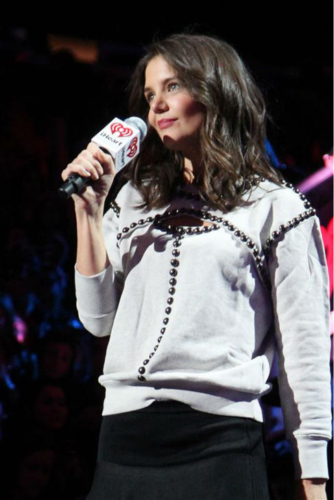 Katie Holmes appears on stage at the 2013 Z100 Jingle Ball on Dec. 13, 2013 and introduces singer Selena Gomez. <span class=meta>(Amanda Schwab &#47; Startraksphotos.com)</span>