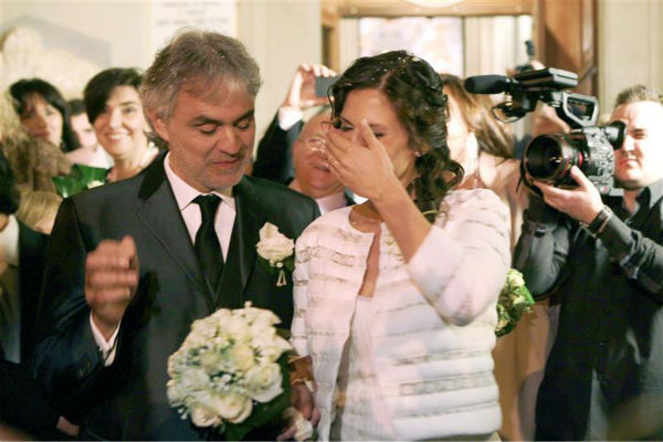"<div class=""meta ""><span class=""caption-text "">Andrea Bocelli and longtime partner Veronica Berti appear at their wedding at the Sanctuary of Montenero in Italy on March 21, 2014. This marks the second marriage for the famed Italian tenor. He and Berti are parents to a daughter, who celebrated her second birthday on their wedding day, and he also has two sons from a previous marriage. (Masjordan Image / Abaca / Startraksphoto.com)</span></div>"