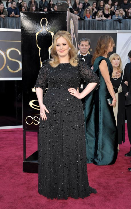 Singer Adele arrives at the Oscars at the Dolby Theatre on Sunday Feb. 24, 2013, in Los Angeles.