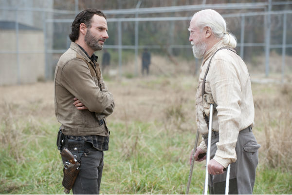 Rick Grimes &#40;Andrew Lincoln&#41; and Hershel Greene &#40;Scott Willson&#41; appear in a scene from AMC&#39;s &#39;The Walking Dead&#39; season 4 finale, which aired on March 30, 2014. <span class=meta>(Gene Page &#47; AMC)</span>