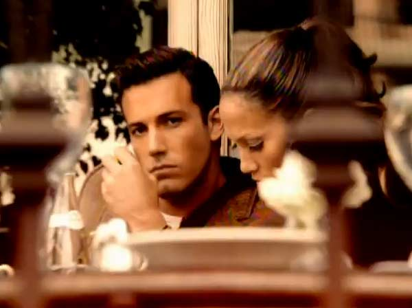 Ben Affleck and Jennifer Lopez appear in a scene from the 2002 music video 'Jenny from the Block.'