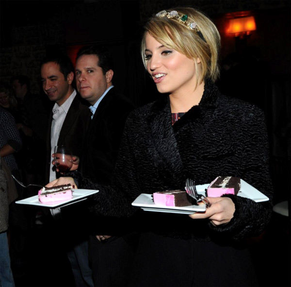 "<div class=""meta ""><span class=""caption-text "">Dianna Agron, who plays Quinn Fabray on 'Glee,' appears at Nylon magazine's dinner party to celebrate its December/January issue. She appears on the cover, depicted on a cake that was presented at the event on Dec. 7, 2011 at the Writer's Room in Los Angeles. (Michael Buckner / WireImage)</span></div>"